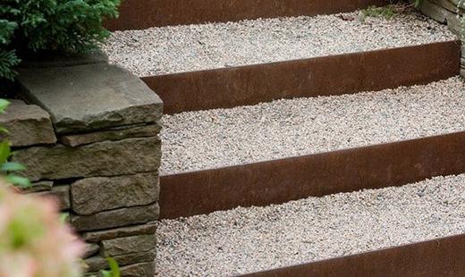 Bordure acier corten pour jardin durables et esth tiques ami - Bordure de jardin metallique ...