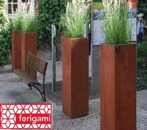jardiniere HAUTE ACIER corten ferigami