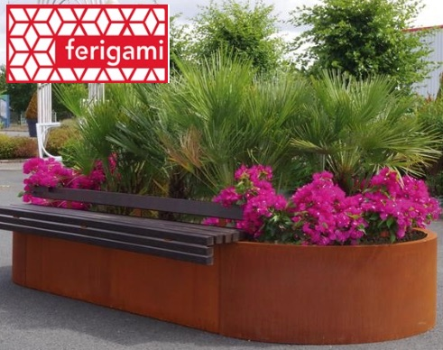 mobilier urbain corten ferigami