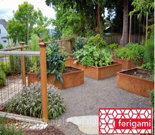 jardiniere potager acier corten ferigami