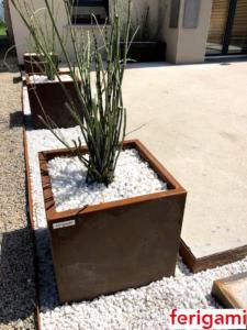 jardiniere ferigami acier corten